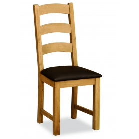 Suffolk Rustic Oak Ladder Back Dining Chair with PU Seat